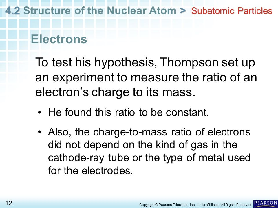 Subatomic Particles Electrons. To test his hypothesis, Thompson set up an experiment to measure the ratio of an electron's charge to its mass.