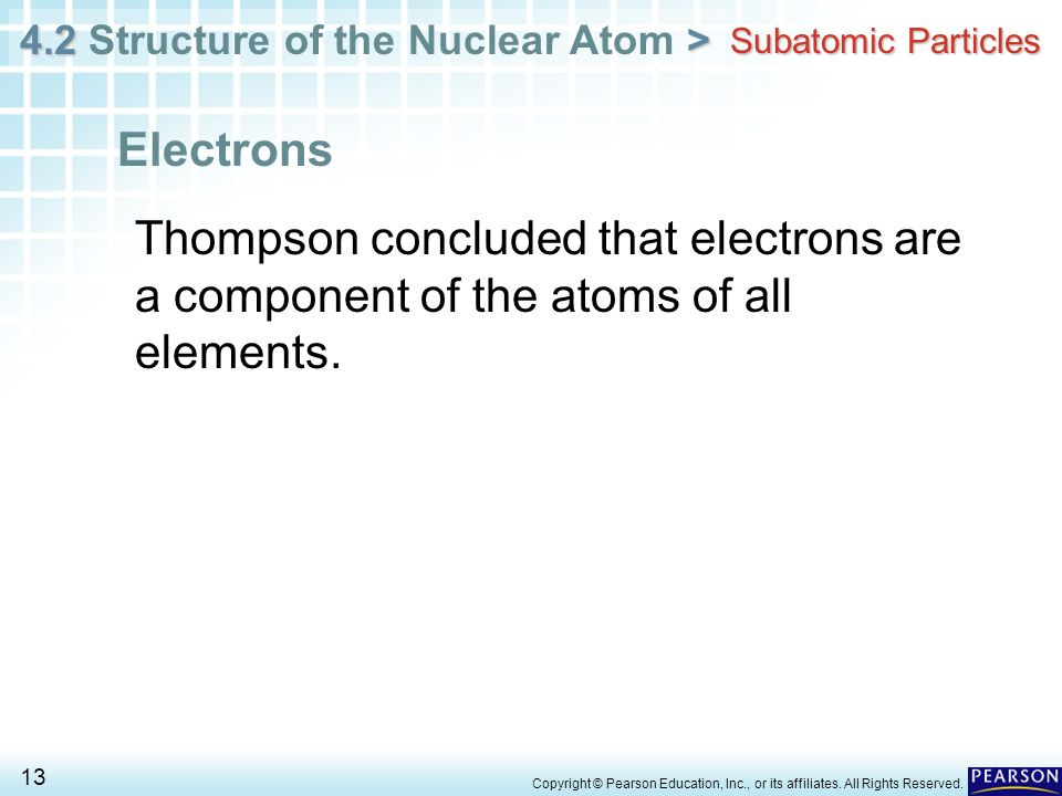 Subatomic ParticlesElectrons. Thompson concluded that electrons are a component of the atoms of all elements.