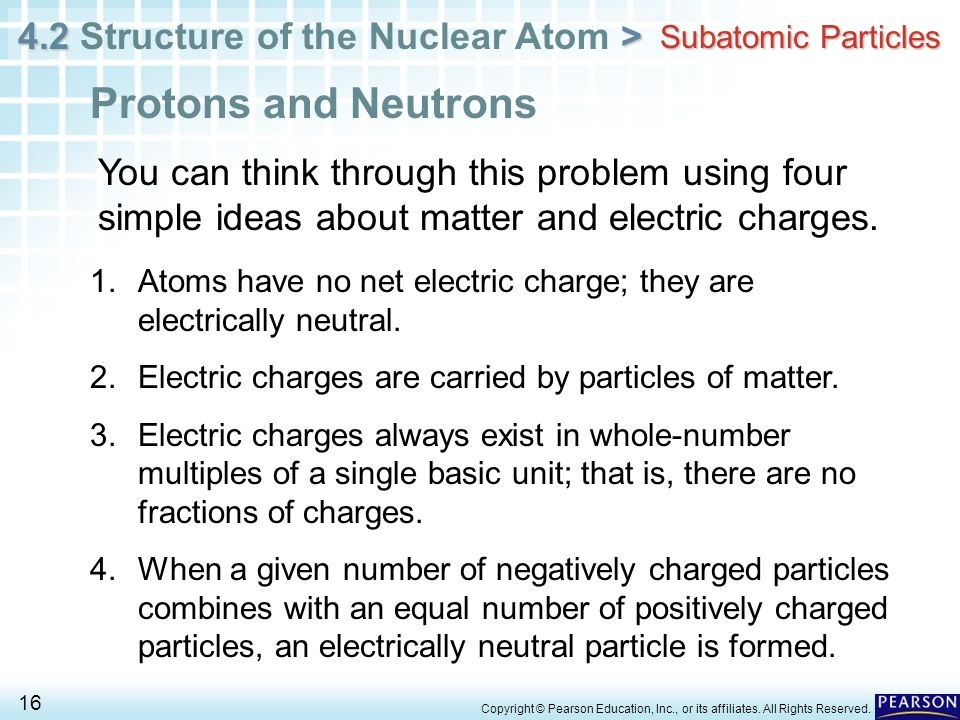 Subatomic ParticlesProtons and Neutrons. You can think through this problem using four simple ideas about matter and electric charges.