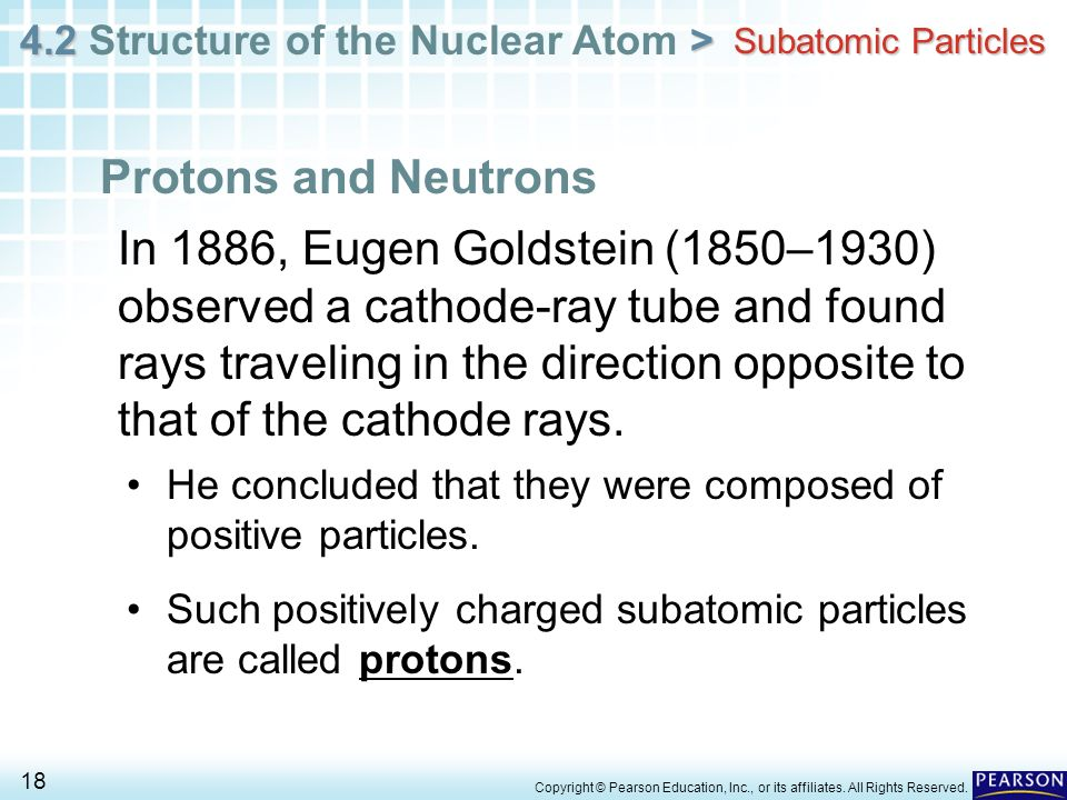 Subatomic ParticlesProtons and Neutrons.