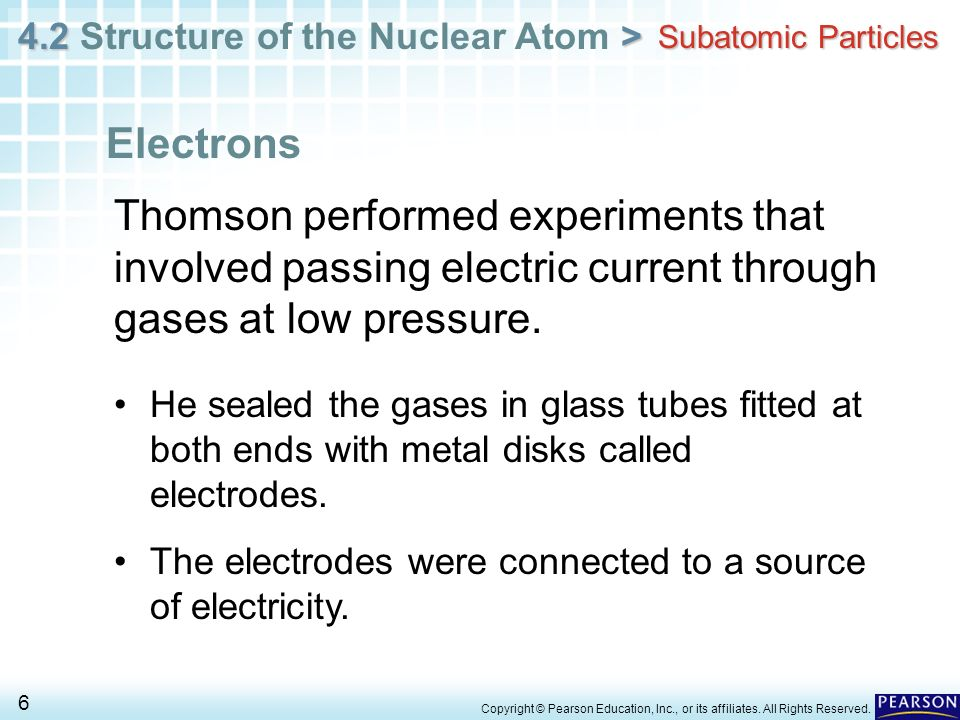 Subatomic ParticlesElectrons. Thomson performed experiments that involved passing electric current through gases at low pressure.