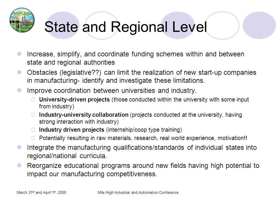 State and Regional Level