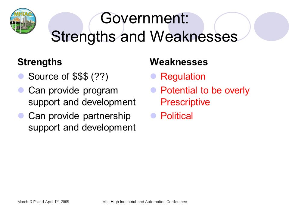 Government: Strengths and Weaknesses