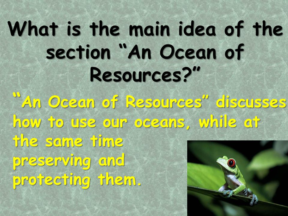 What is the main idea of the section An Ocean of Resources