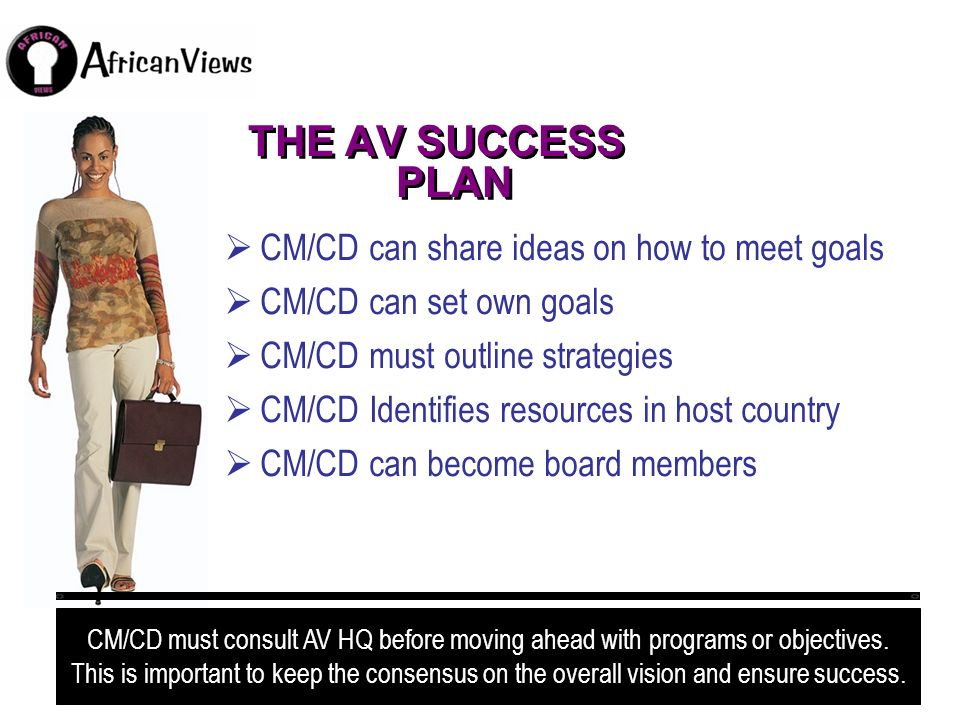THE AV SUCCESS PLAN CM/CD can share ideas on how to meet goals