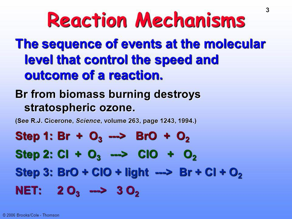 Reaction Mechanisms The sequence of events at the molecular level that control the speed and outcome of a reaction.