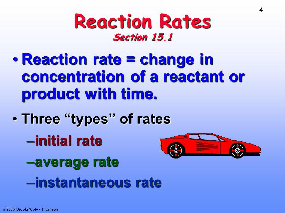 Reaction Rates Section 15.1. Reaction rate = change in concentration of a reactant or product with time.