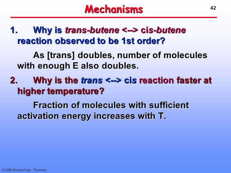 Mechanisms 1. Why is trans-butene <--> cis-butene reaction observed to be 1st order