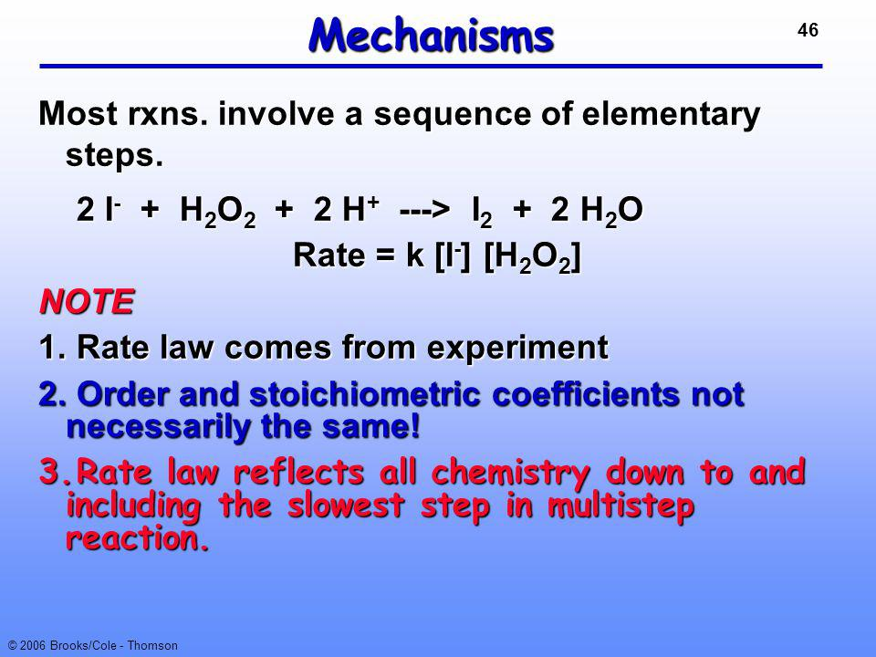 Mechanisms Most rxns. involve a sequence of elementary steps.