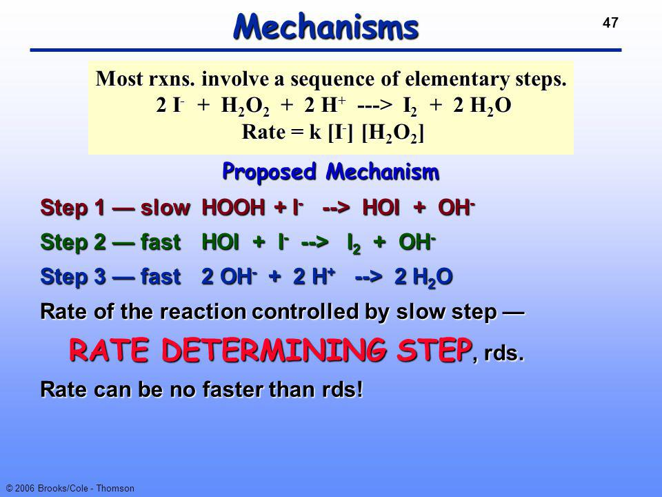 Most rxns. involve a sequence of elementary steps.