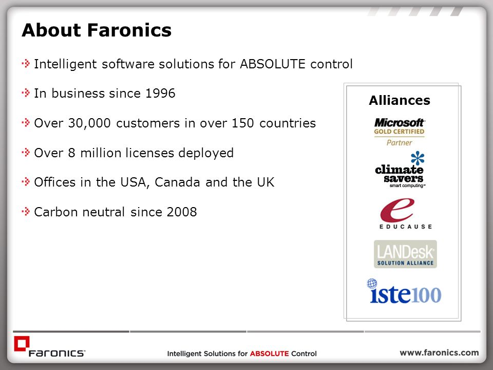 About Faronics Intelligent software solutions for ABSOLUTE control