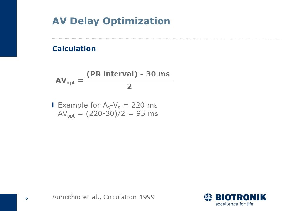 AV Delay Optimization Calculation (PR interval) - 30 ms AVopt = 2