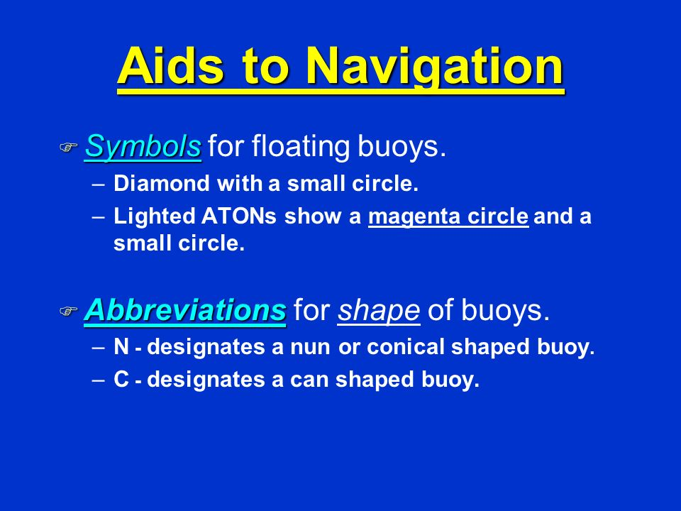 Aids to Navigation Symbols for floating buoys.