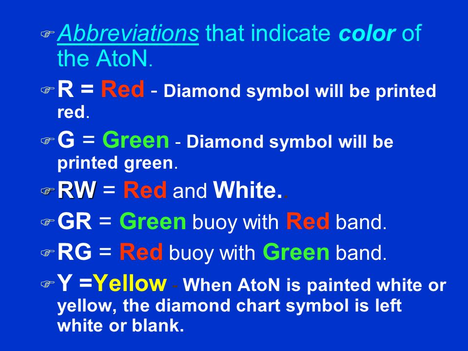 Abbreviations that indicate color of the AtoN.