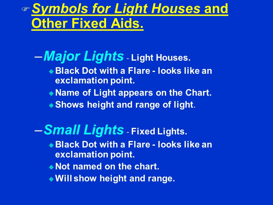 Symbols for Light Houses and Other Fixed Aids.