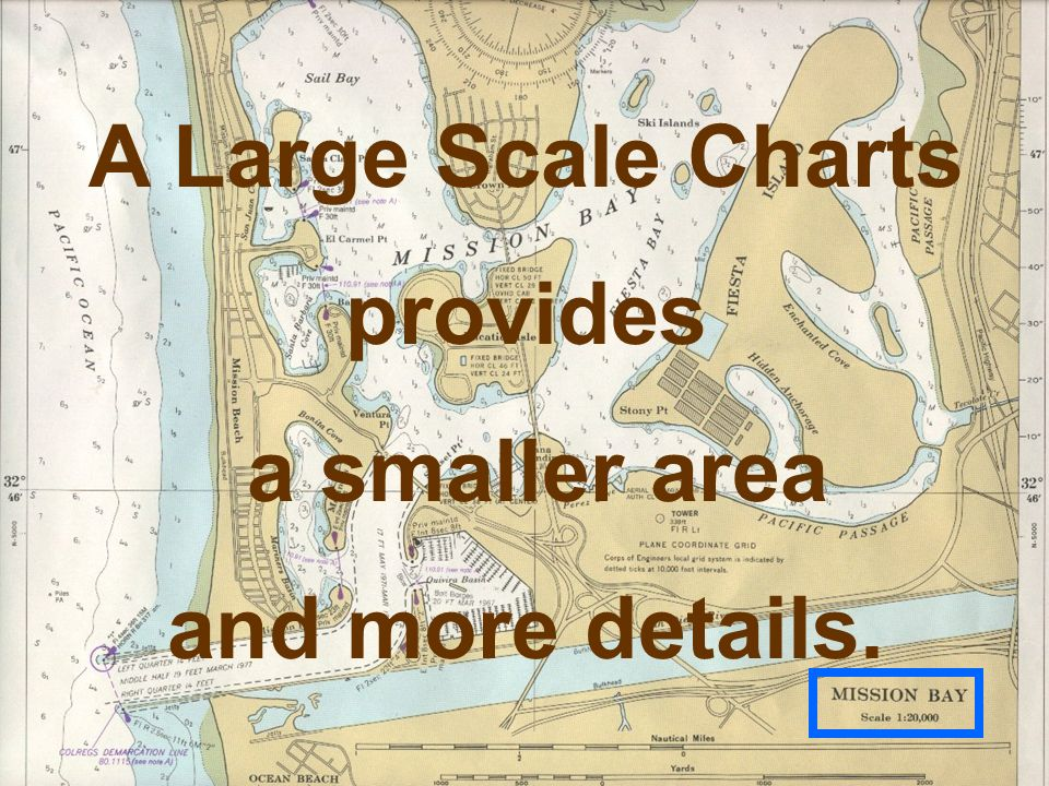 A Large Scale Charts provides a smaller area and more details.