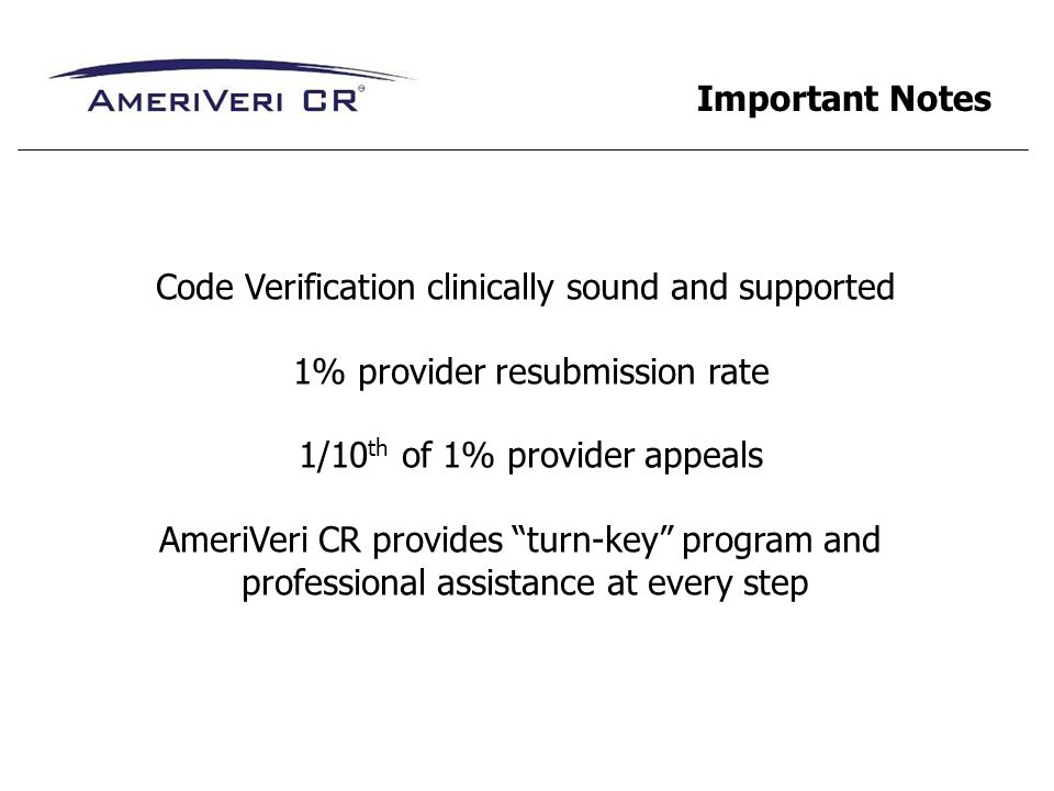 Code Verification clinically sound and supported