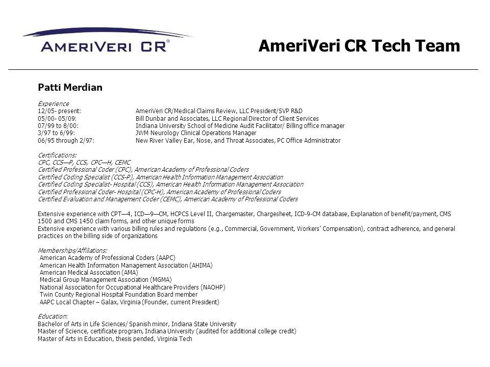 AmeriVeri CR Tech Team Patti Merdian Experience