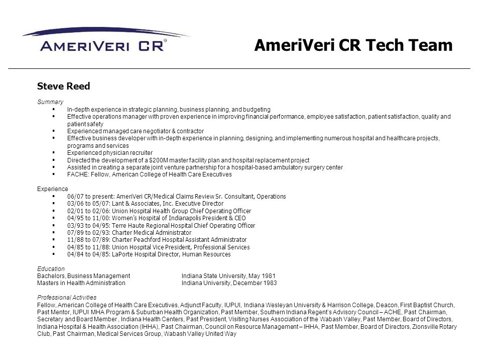 AmeriVeri CR Tech Team Steve Reed Summary