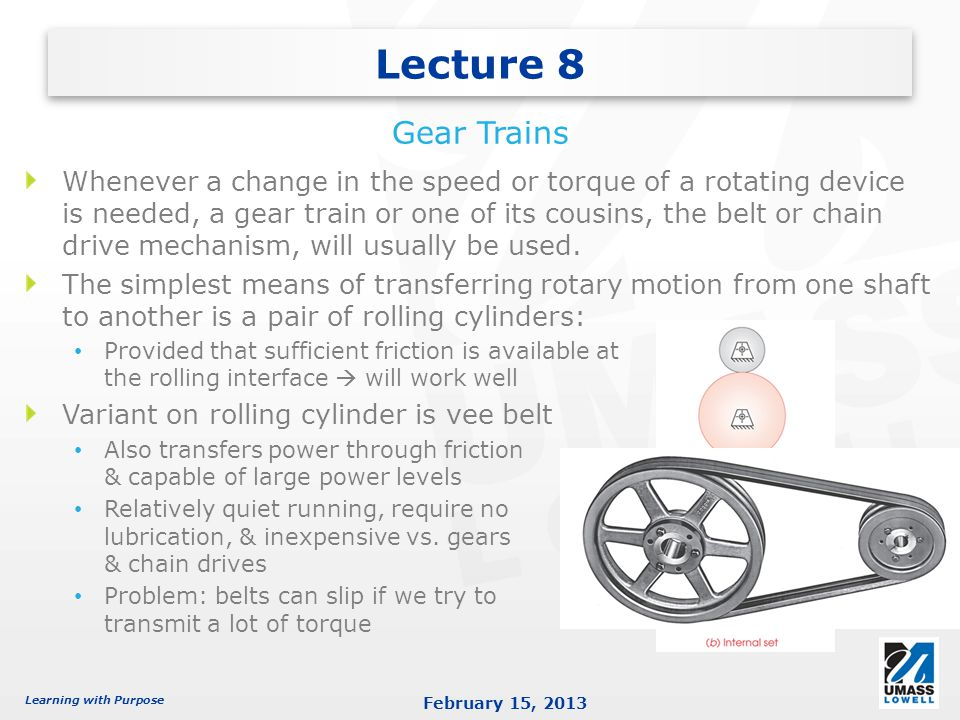 Lecture 8 Gear Trains.