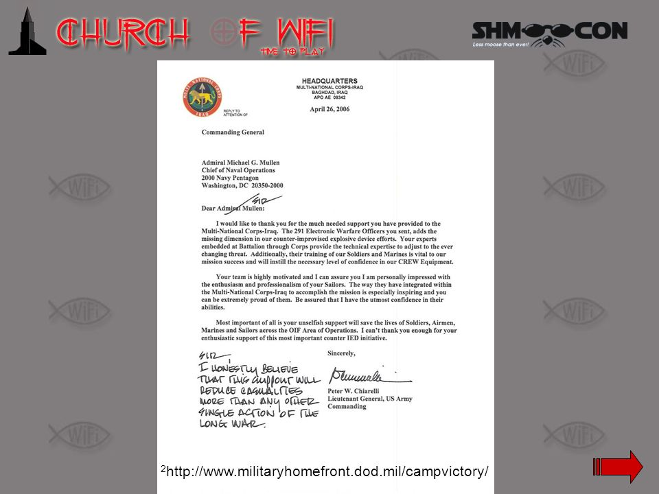 Letter to Admiral Mullen (Chief of Naval Operations) to LG Chiarelli, CG of MNC-I.