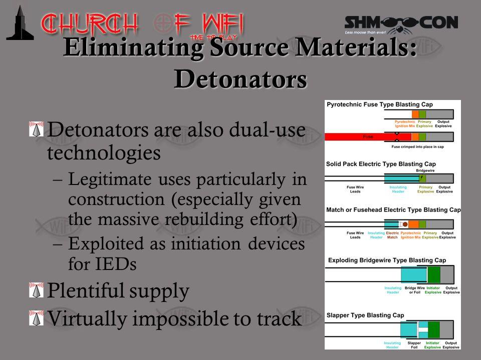 Eliminating Source Materials: Detonators