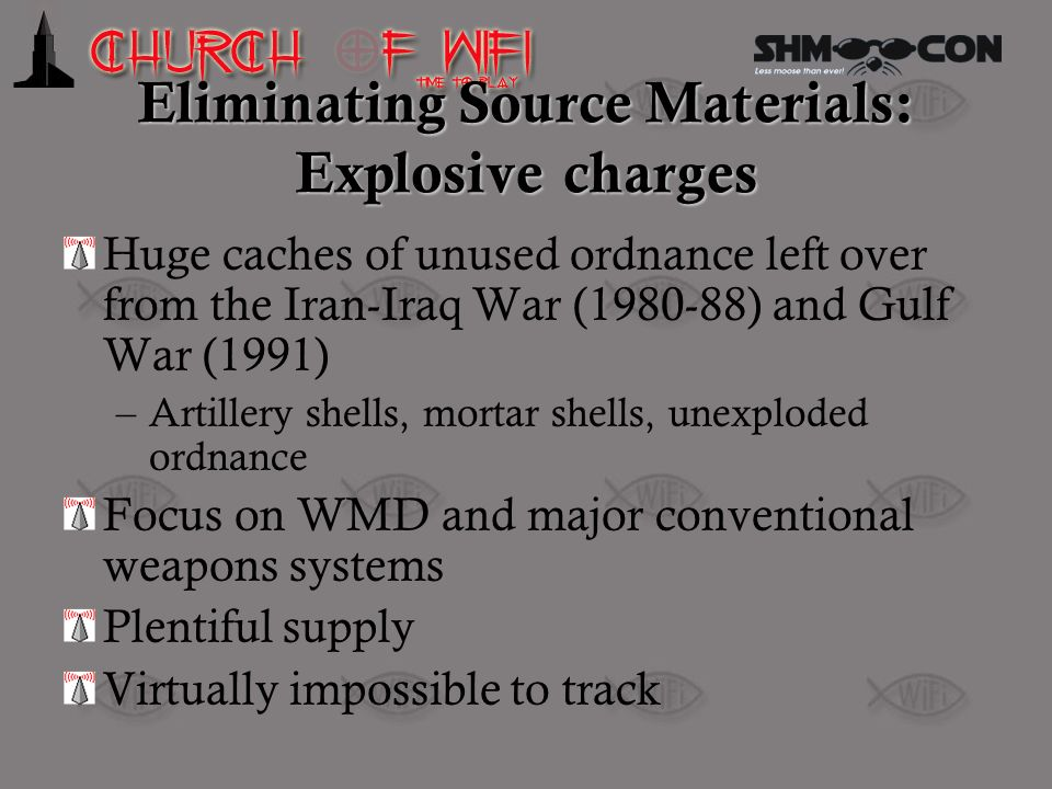 Eliminating Source Materials: Explosive charges