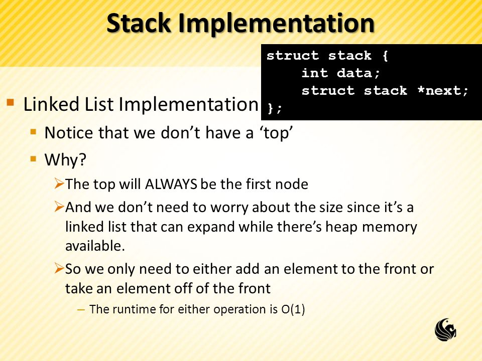 Stack Implementation Linked List Implementation