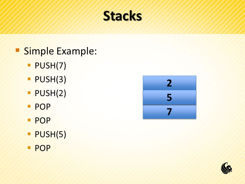 Stacks Simple Example: PUSH(7) PUSH(3) PUSH(2) POP PUSH(5)