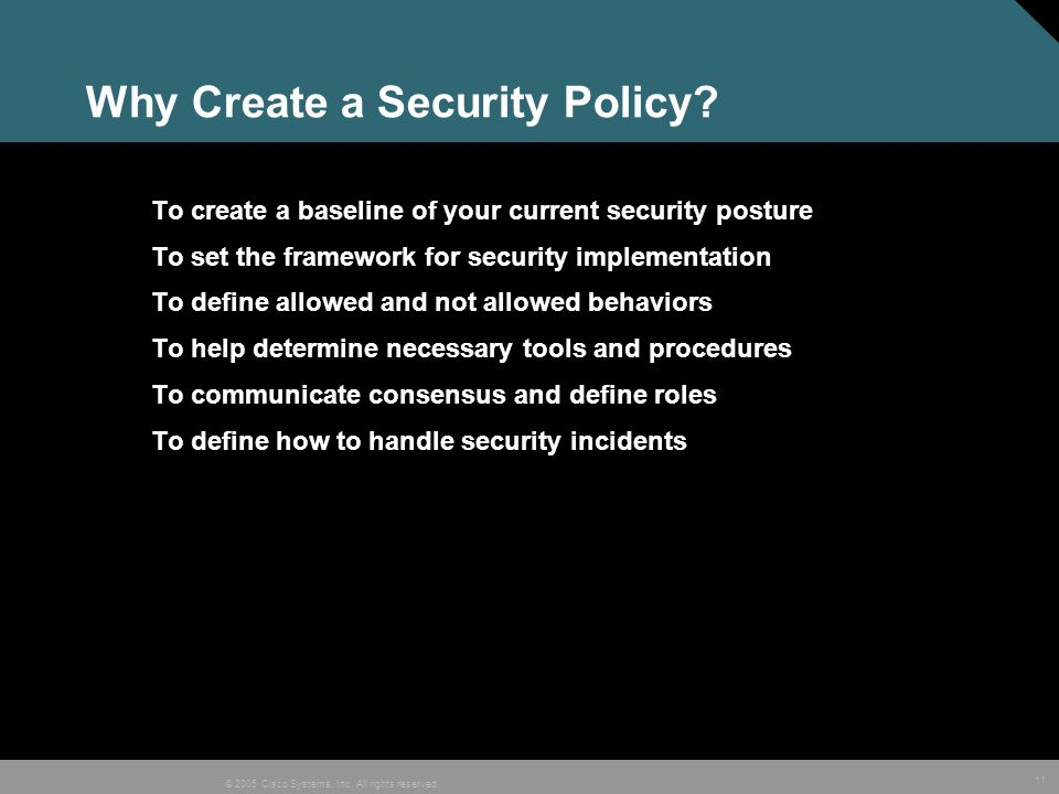 Why Create a Security Policy