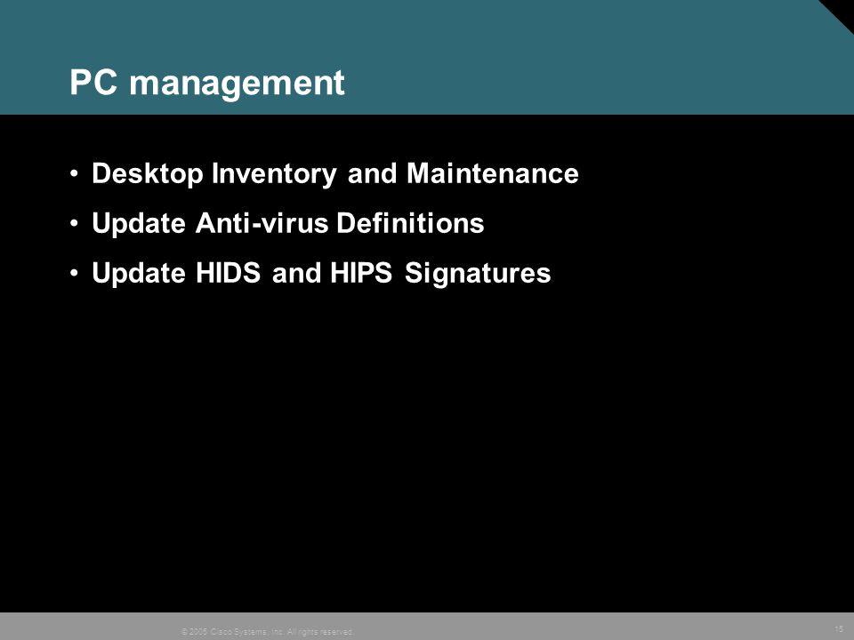 PC management Desktop Inventory and Maintenance