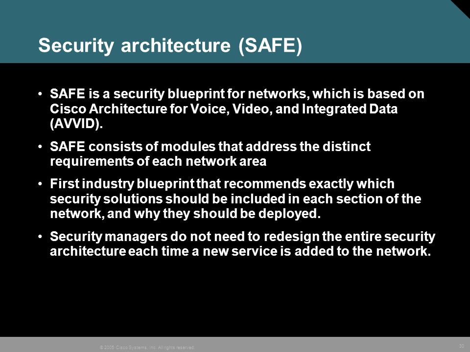 Security architecture (SAFE)