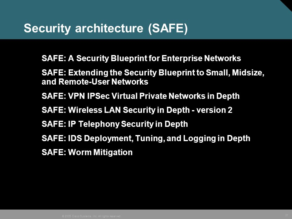Security architecture (SAFE)