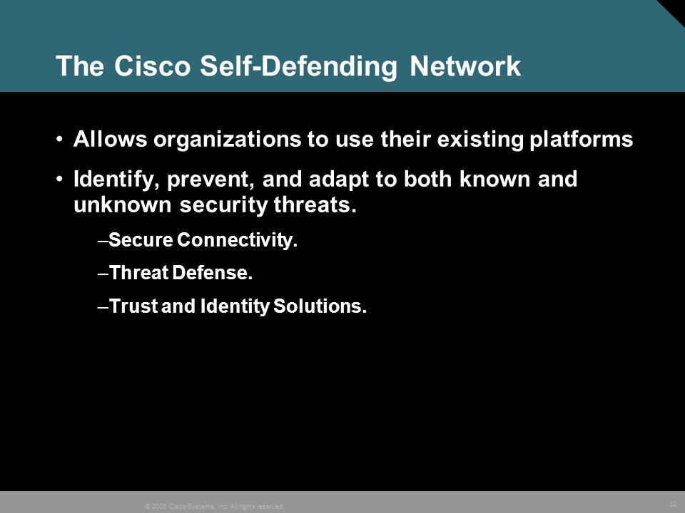 The Cisco Self-Defending Network