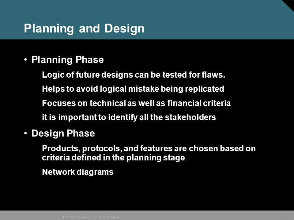 Planning and Design Planning Phase Design Phase