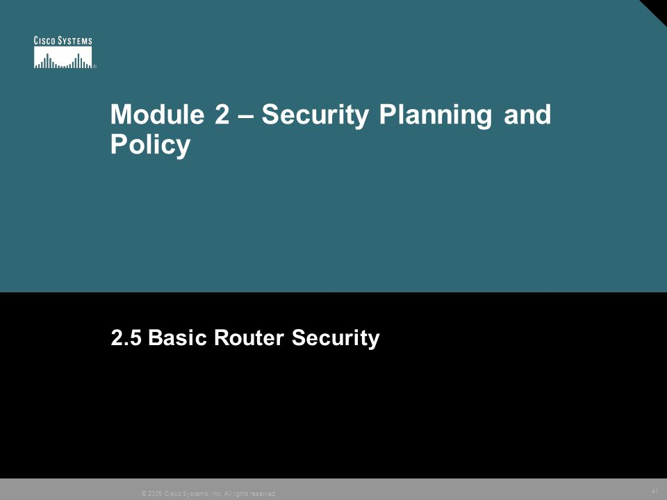 Module 2 – Security Planning and Policy