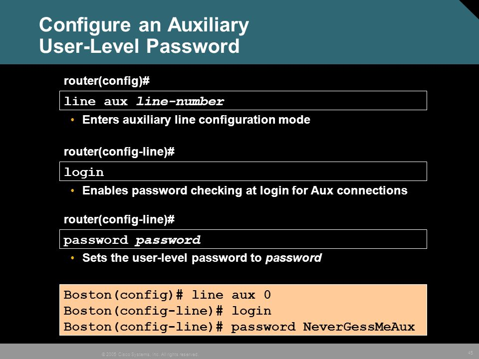 Configure an Auxiliary User-Level Password