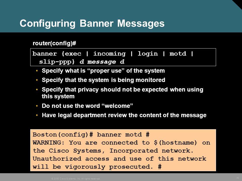Configuring Banner Messages