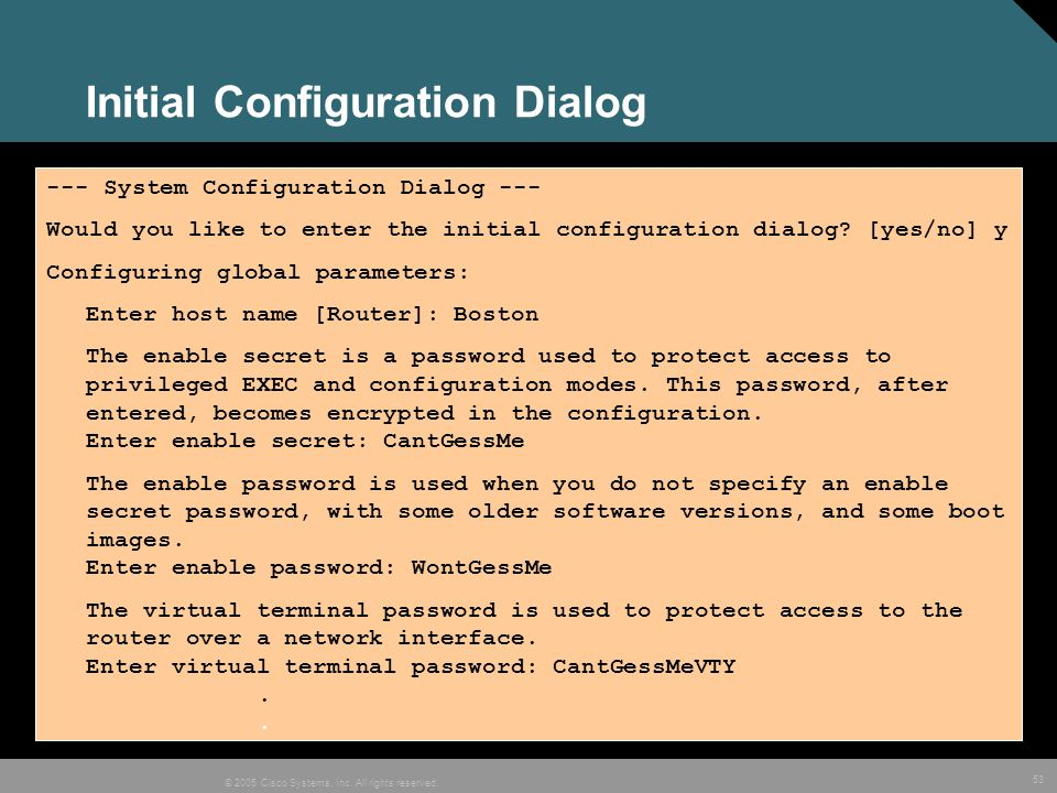 Initial Configuration Dialog