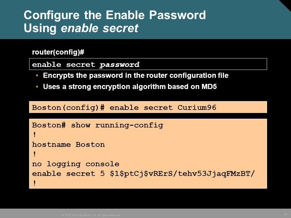 Configure the Enable Password Using enable secret