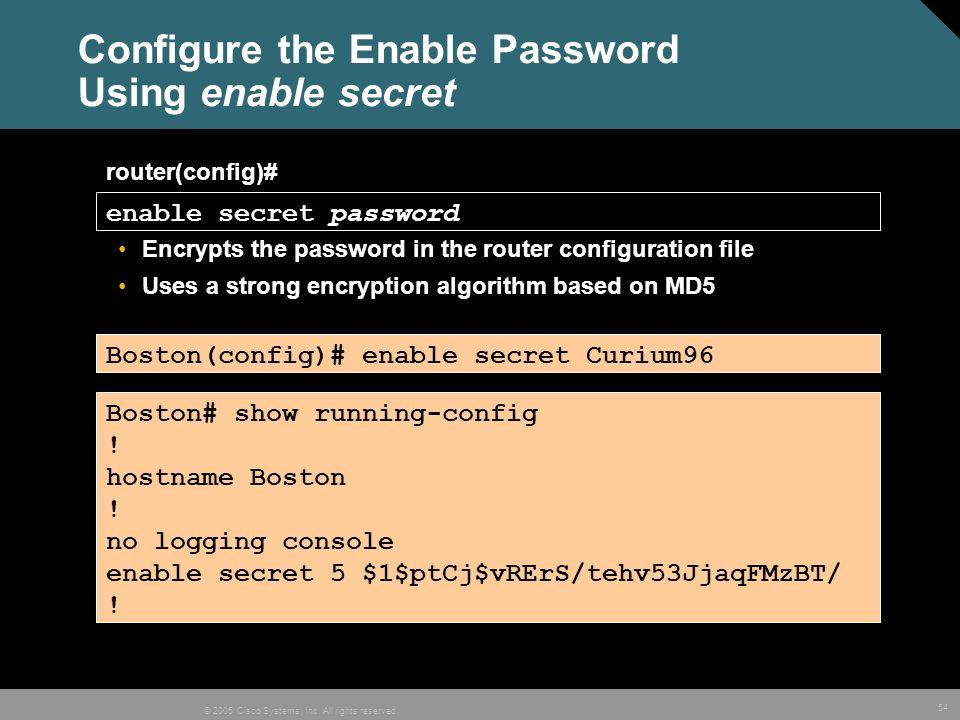 Configure the Enable Password Using enable secret