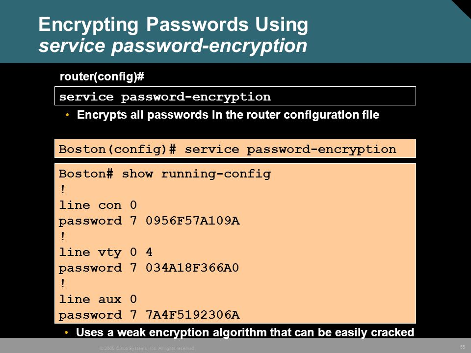 Encrypting Passwords Using service password-encryption