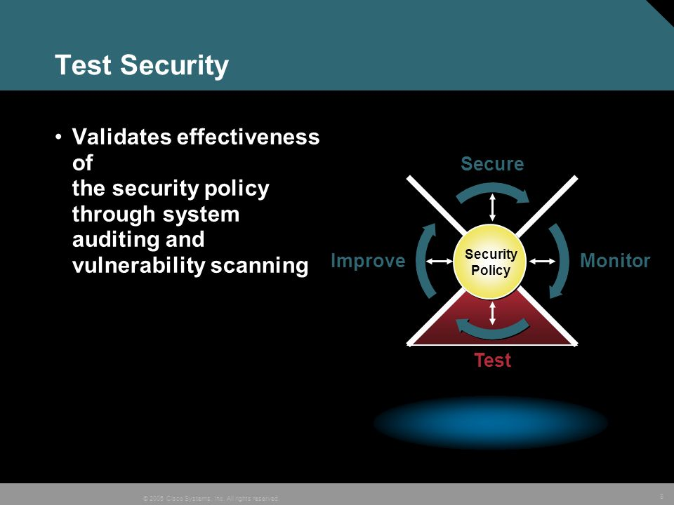 Test Security Validates effectiveness of the security policy through system auditing and vulnerability scanning.