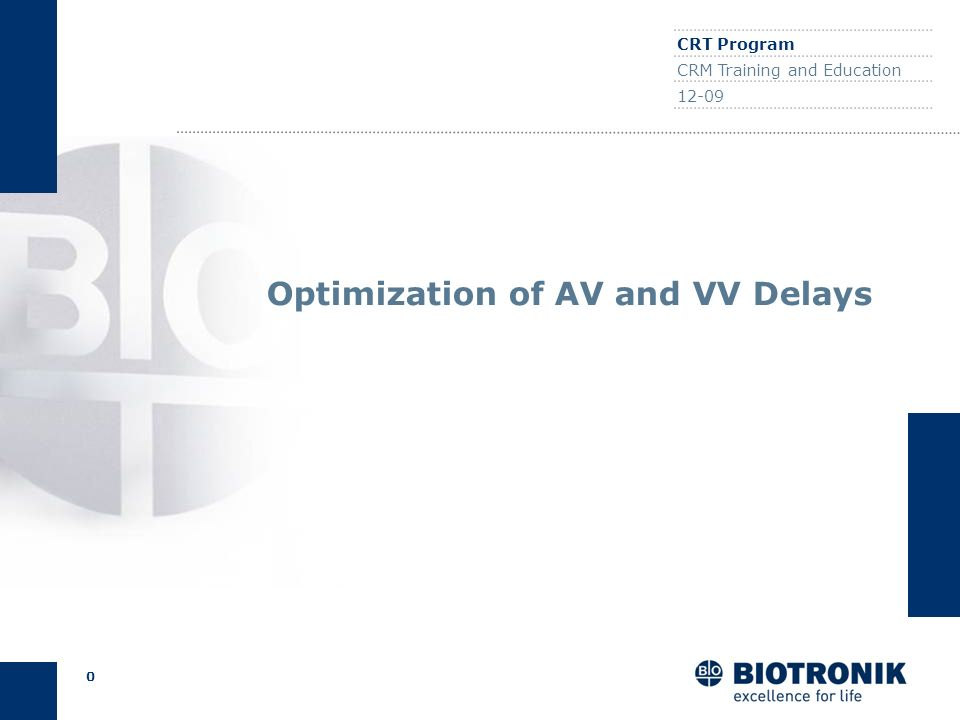 Optimization of AV and VV Delays