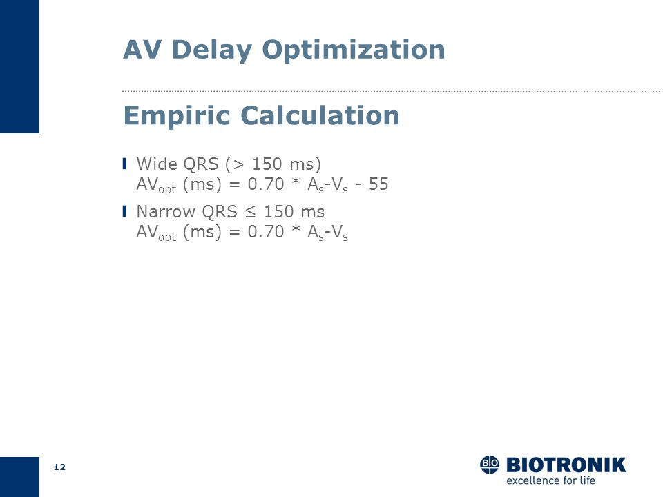 AV Delay Optimization Empiric Calculation