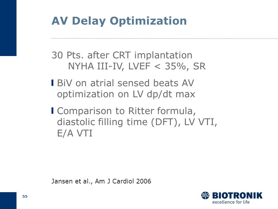 AV Delay Optimization 30 Pts. after CRT implantation NYHA III-IV, LVEF < 35%, SR. BiV on atrial sensed beats AV optimization on LV dp/dt max.