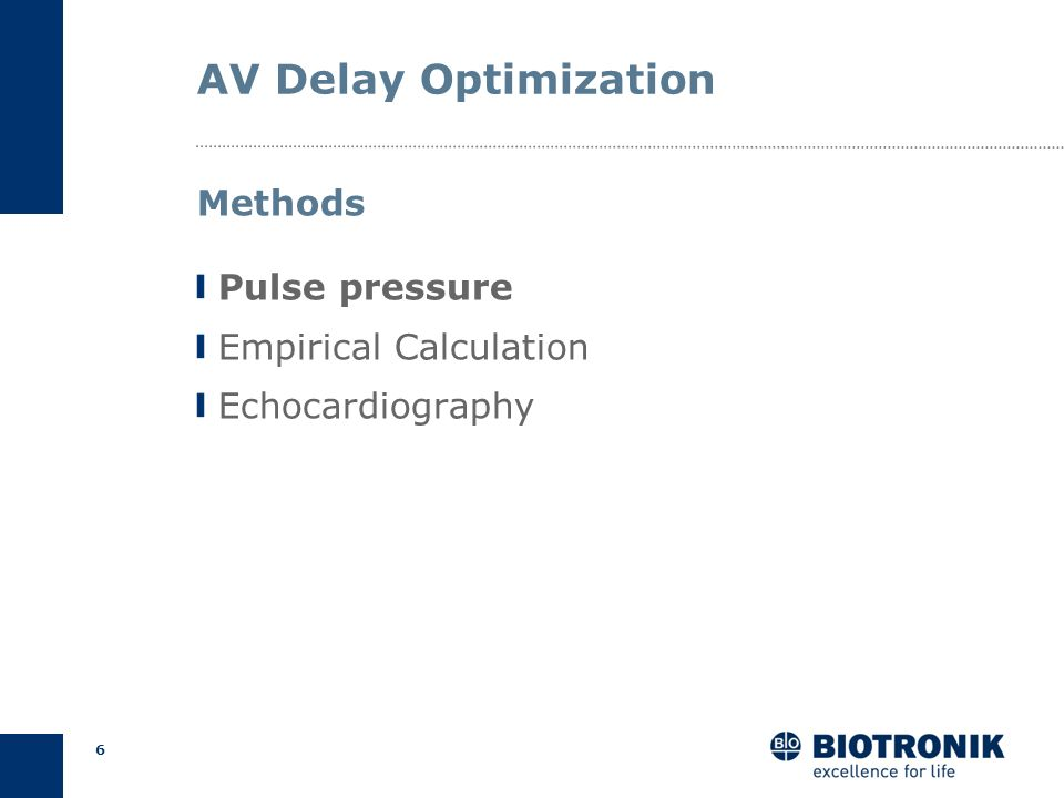 AV Delay Optimization Methods Pulse pressure Empirical Calculation