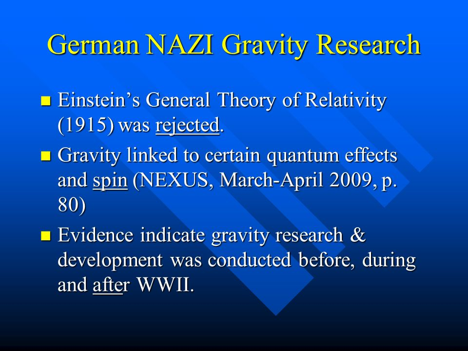 German NAZI Gravity Research