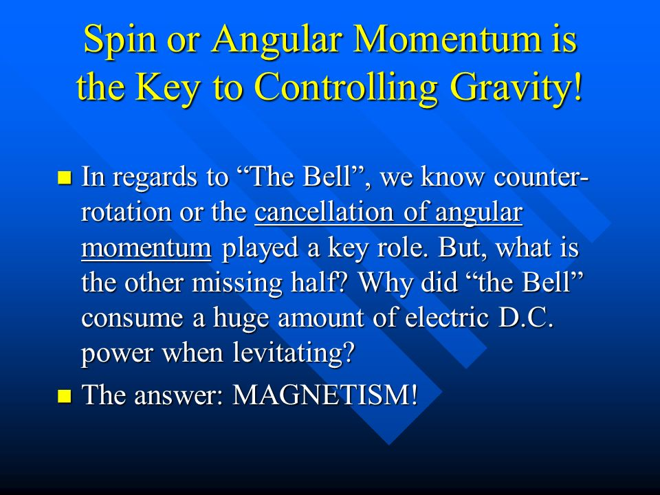 Spin or Angular Momentum is the Key to Controlling Gravity!