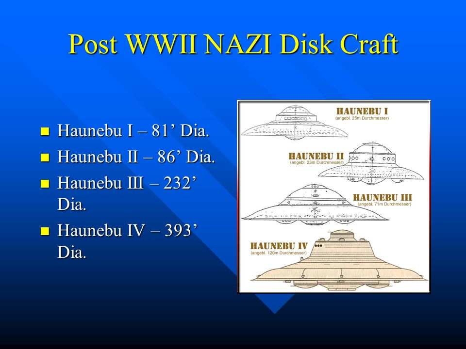 Post WWII NAZI Disk Craft